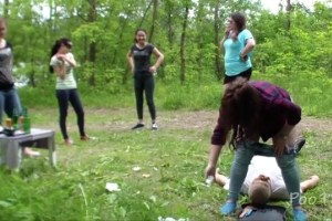 Girls shitting into the mouth of a guy in the open air 2