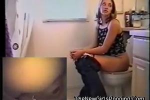 Pooping Anna. Two cameras in the toilet