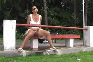 Pee sitting on the bench