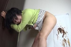 Asian girl takes off his perversions with poop